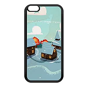 Christmas Village Black Silicon Rubber Case for iPhone 6 Plus by Nick Greenaway + FREE Crystal Clear Screen Protector