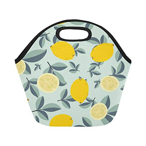 Insulated Neoprene Lunch Bag Lemon Sour And Sweet Fruit Fresh Summer Bright Design Yellow Large Size Reusable Thermal Thick Lunch Tote Bags For Lunch Boxes For Outdoors,work, Office, School