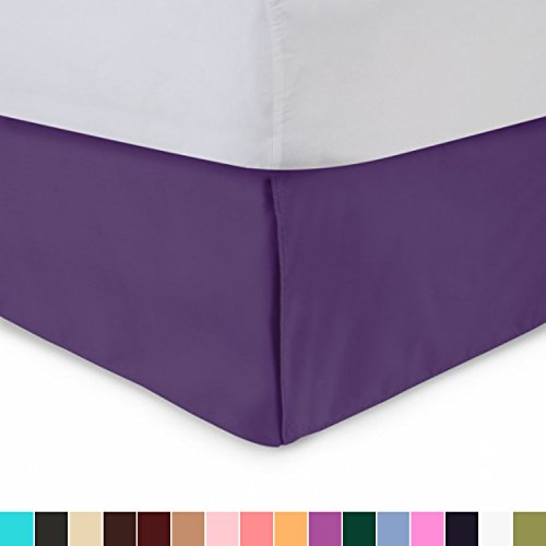 Harmony Lane Tailored Bedskirt - 14 inch Drop, Queen, Purple Bed Skirt with Split Corners (Available in All Sizes and 16 Colors)