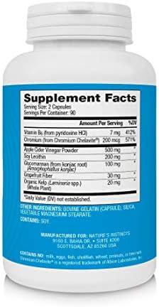 Nature's Instincts Apple Cider Vinegar Capsules | Apple Cider Vinegar + Grapefruit + Vitamin B6 | Weight Management Supplement, 180 Capsules 2