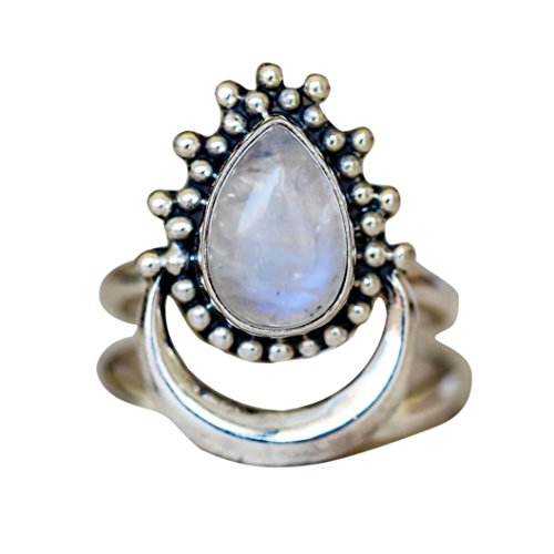 Sinwo Women Boho Jewelry Gift Natural Gemstone Moon White Opal Personalized Ring (10, (Ten Stone Ring)