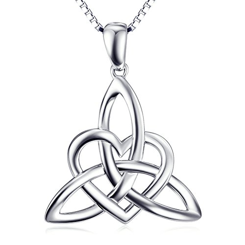 (Sterling Silver Irish Celtic Knot Triangle Lover Heart Shaped Pendant Necklace, 18