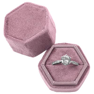 Koyal Wholesale Velvet Ring Box, Dusty Rose, Hexagon Vintage Wedding Ceremony Ring Box with Detachable Lid, 2 Piece Engagement Ring Box Holder, Modern Proposal Idea, Slim Ring Box Display