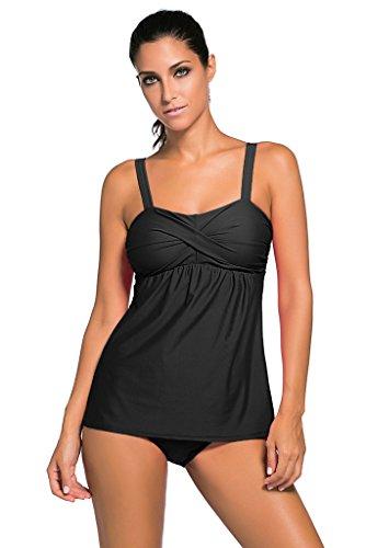 Tiksawon Womens 2pcs Swing Tankini Top with Triangle Briefs Swimsuit XXXL Black