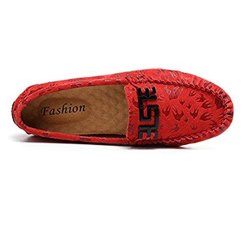 Ligeros de 2018 Color Lovers de Genuino Holgazanes tamaño Cuero Blanco EU Vamp Mocassins Shufang Los Boat conducción Rojo de Hombre Hombres Mocasines shoes 40 Penny Zapatos para impresión BxXf8Oq