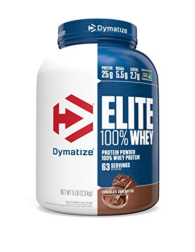 Dymatize Elite 100% Whey Protein Powder, Take Pre Workout or Post Workout, Quick Absorbing & Fast Digesting, Chocolate Cake Batter, 5 Pound