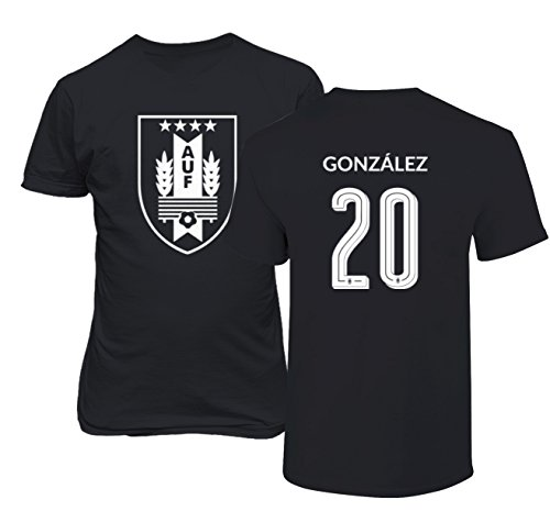 Tcamp Uruguay 2018 National Soccer #20 GONZALEZ World Championship Men's T-Shirt (Black, Adult XXXX-Large) ()