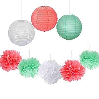 9PCS Coral Mint White Decorative Party Paper Pack Hanging Paper Lantern Pom Poms Wedding Flower Centerpieces Birthday Shower Hanging Paper Ball Nursery Decoration