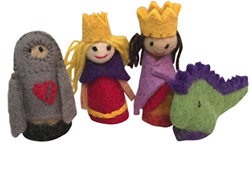 Papoose Toys Finger Puppets - King, Queen, Knight and Dragon - 4 Piece Boxed Set