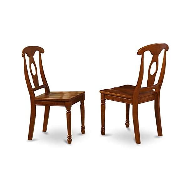 Wood Dining Chair with Turned Legs - Dining Chair with Queen Anne Back - Set of 2 - Saddle Brown
