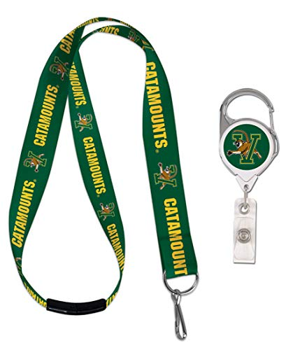 WinCraft Bundle 2 Items: University of Vermont Catamounts 1 Lanyard with Safety Breakaway and 1 Premium Badge Reel