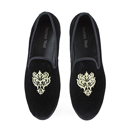 Men's Vintage Velvet Embroidery Noble Loafer Men Shoes Slip-on Loafer Smoking Slipper US 9 Black