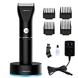 Hair Clippers - Liberex Professional Cordless Electric Hair Cutter Machine Kit Rechargeable Wireless Hair Grooming Trimmers Set for Men Kids Babies Family Home with 4 Guide Combs, Charging Base - 41ol04P0G3L - Liberex Cordless Electric Hair Clippers – Professional Rechargeable Hair Cutting Machine for Men Women Kids Baby, Barber Grooming Cutter Kit, Beard Body Trimmer Set, 20 Length, Wireless Charging