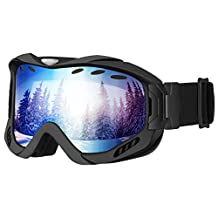 Skate Goggles,Patec Snowboard Skate Goggles Over Glasses Snowmobile Ski Goggles with Dual-layer Lens,100% UV Protection,Anti-fog,Upgraded Ventilate System for Boys,Girls,Youth,Mens,Womens Snowmobile Skiing Skating-Blue