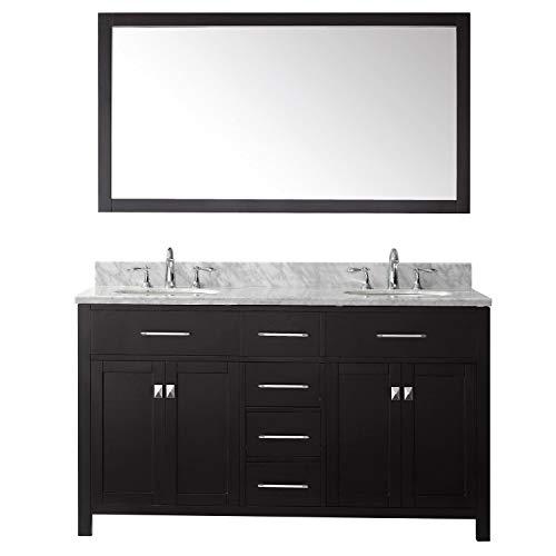 Virtu USA Caroline 60 inch Double Sink Bathroom Vanity Set in Espresso - Cabinet Depot Bathroom Mirrors Home Round