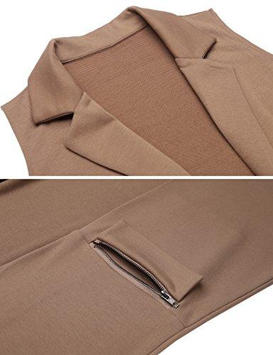 Beyove Women's Sleeveless Long Open Cardigan Vest Blazer Vests,XX-Large,Khaki by Beyove (Image #3)
