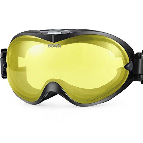 Gonex Adult Ski Goggles Snow Snowboard Goggles Orange Lens Black - Light Glasses Low