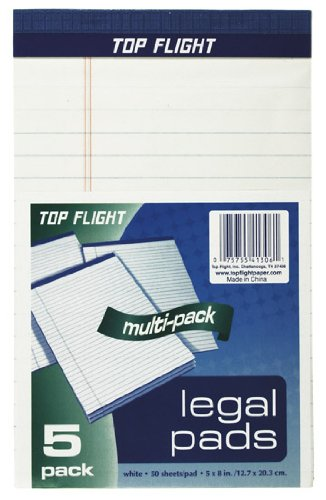 Top Flight 4513106 Legal Pads, 5 x 8-Inches.375-Inch Rule, 50 Sheets per Pad, 5 Pads per Pack (White) Topflight Inc.