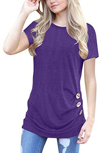 Sleeve Crewneck Sweater Short Ladies (MOLERANI Women's Casual Short Sleeve Crew Neck Loose Tunic T Shirt Sweater Purple S)