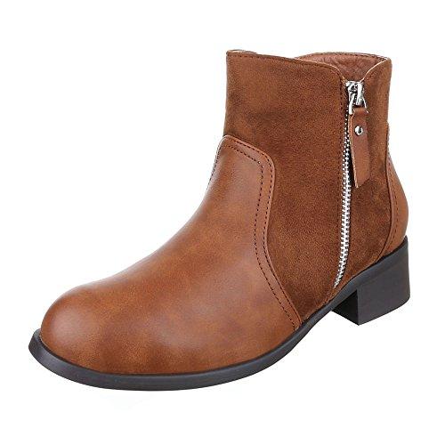 Ital-Design Komfort Stiefeletten Damen Schuhe Schlupfstiefel Blockabsatz Leicht Gefütterte Reißverschluss Stiefeletten Camel