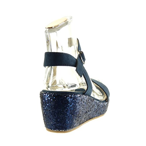 Brillante Mules Moda Azul Plataforma Mujer Tanga Brillantes 6 Zapatillas Cm Sandalias Angkorly Talón pA0U0