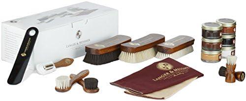 Langer & Messmer Set de 17 piezas para la limpieza y el cuidado del calzado, incl. cremas y cepillos para zapatos de cuero liso y ante: Amazon.es: Zapatos y complementos