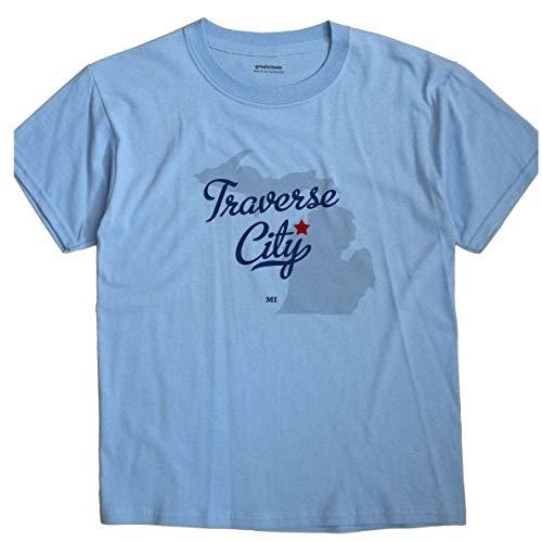 (GreatCitees Traverse City Michigan MI MAP Unisex Souvenir T Shirt)