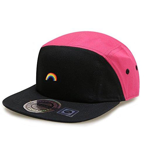City Hunter Cn145 Rainbow Two Tone 5 Panel Biker Hat 13 Colors (black/fuchsia)