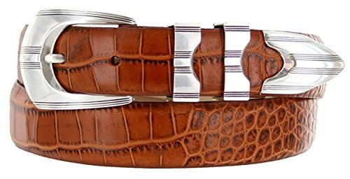(Hagora Men's Italian Calfskin Smooth Solid Sterling Silver Etched Buckle Belt,Alligator Tan 36)