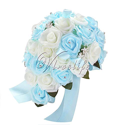 Baby hunter station Newest Wedding Bouquet Artificial Flowers Rose Crystal Teardrop Bridal Bouquet Bride Bridesmaid Girl Wand Decor,White and Sky Blue