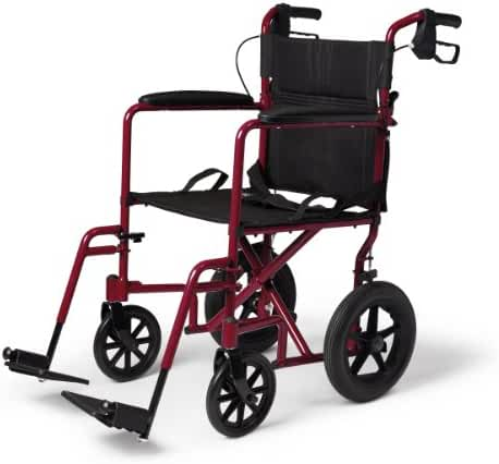 Medline Transport Wheelchair with Brakes, Red