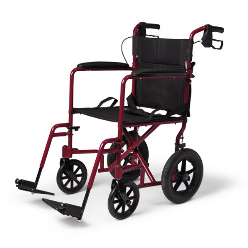 Medline Lightweight Transport Adult Folding Wheelchair with Handbrakes, Red - Lightweight Wheel