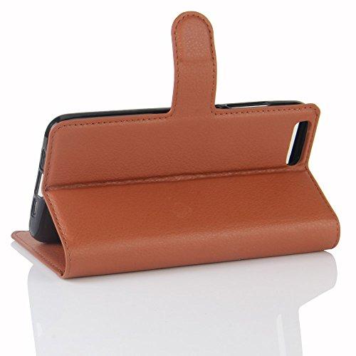 LORDWEY® para Xiaomi Mi6 Estuche Carcasas y fundas de billetera Cubierta cuero PU caso Flip con ranuras para tarjetas y la función de pie -marrón