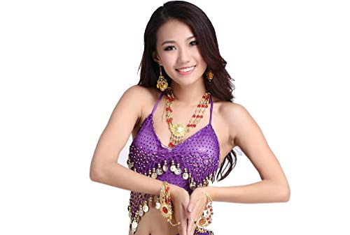 ZLTdream Lady's Belly Dance Bandage Coin Bra Top With Chest Pad Purple -