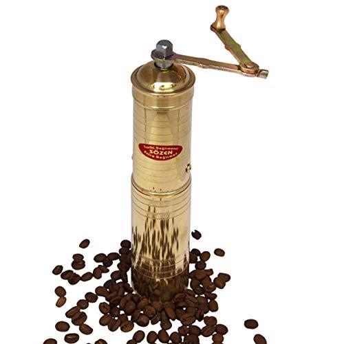 9″ Handmade Manual Brass Coffee Mill Grinder Sozen, Portable Conical Burr Coffee Mill, Portable Hand Crank Coffee Grinder, Turkish Coffee Grinder