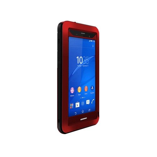 Love Mei Shockproof Water Resistant Dust/Dirt/Snow Proof Aluminum Metal Gorilla Glass Heavy Duty Protection Case Cover for Sony XPERIA Z3 Red