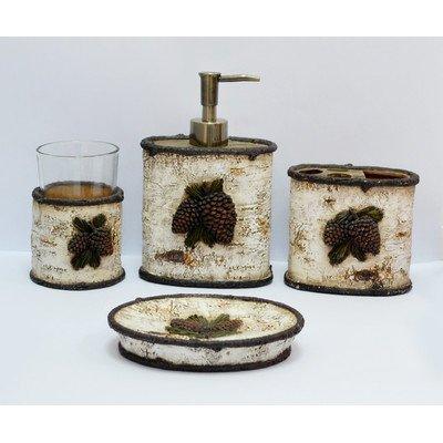 Pine Cone 4 Piece Birch Bath Set [Set of 2] Pinecone Bathroom Accessories
