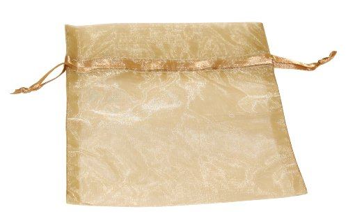Premier Packaging AMZ-399829 20 Count Organza Bags, 5 by 7-Inch, Antique Gold