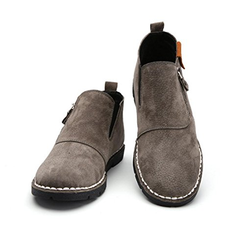 WZG Nueva caída de con la ayuda de los zapatos ocasionales de los hombres de cuero de los zapatos hechos a mano British cremallera lateral de un pedal de los zapatos planos gray