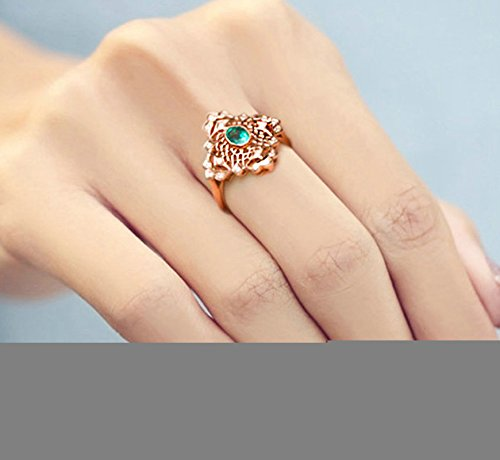 Gnzoe Rose Gold Women Wedding Rings Solitaire Engagement Rings Rose Gold with Green 0.578ct Emerald Size 6 by Gnzoe (Image #1)