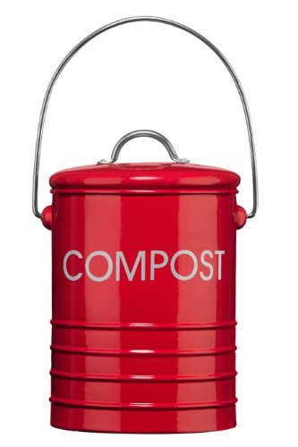 Premier Housewares Komposteimer mit Tragegriff, Rot