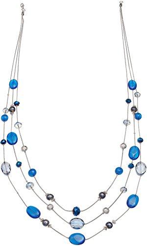 Izaro 3 Row Blue Multi Bead Illusion Necklace One Size Blue multi - 3 Row Illusion Necklace