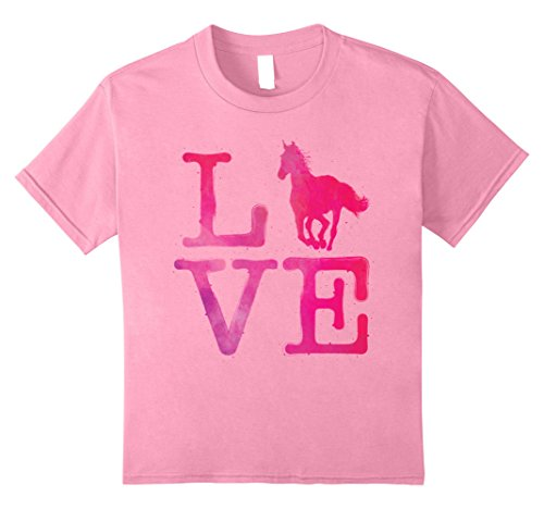 Kids I Love Horse Watercolor T Shirt Horses Riding Racing Gifts 8 Pink