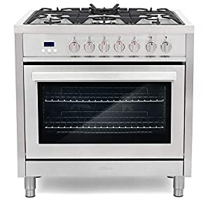 Cosmo F965 36 in. Dual Fuel Gas Range with 5 Sealed Burners, Convection Oven with 3.8 cu. ft. Capacity, 8 Functions… 11