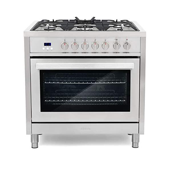 Cosmo F965 36 in. Dual Fuel Gas Range with 5 Sealed Burners, Convection Oven with 3.8 cu. ft. Capacity, 8 Functions… 1