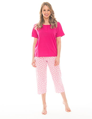 Pink Lady Women's Henley T-Shirt and Capri 2 Piece Lightweight Pajama Set (Barley Pink Butterfly Henley, XX-Large)