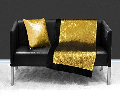 Idea Nuova, Sparkle Throw, 50x60, Gold (Blanket Gold Sequin Throw)