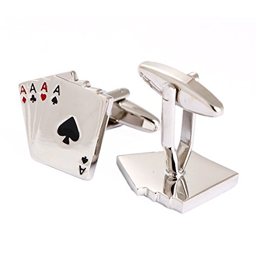 Gentleman's Poker Cards Shaped Cufflinks High Polished ()