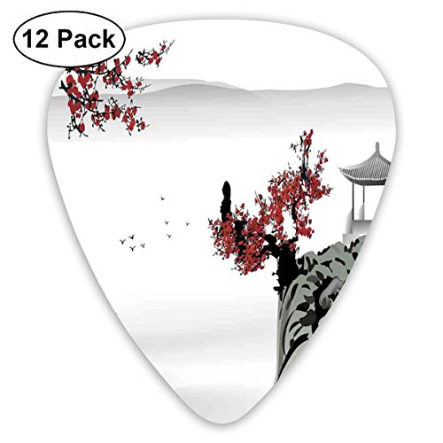 Guitar Picks 12-Pack,Asian River Scenery With Cherry Blossoms Boat Cultural Hints Mystical View Artsy (Mystical Boat)
