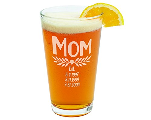 (Mom with Kids Birth Dates Personalized Tea Pub Glass Engraved Mothers Day Birthday Gift for New Mom, Soon to Be Mommy Christmas Idea for Mama, Mother, Mother in Law, Grandma Mugs)
